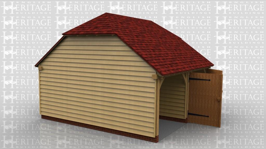 2 bay oak frame garage barn hip ends ws00134 for Two bay garage
