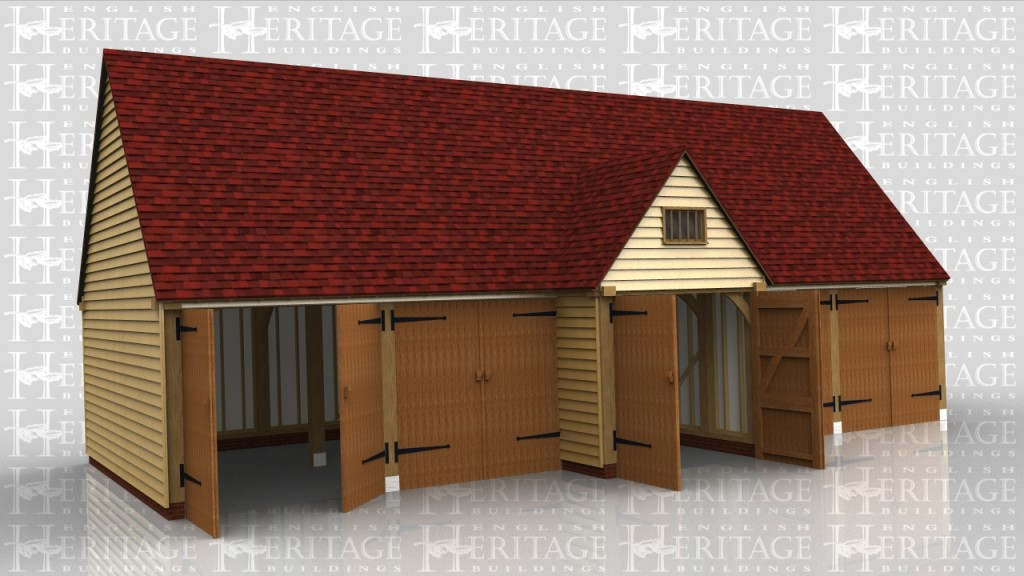 This 5 bay garage block is attached to an existing building one end and from the front looks like five garage bays all with garage doors. In fact the centre bay has a projecting barn entance on both the front and the rear and is in fact a drive through.