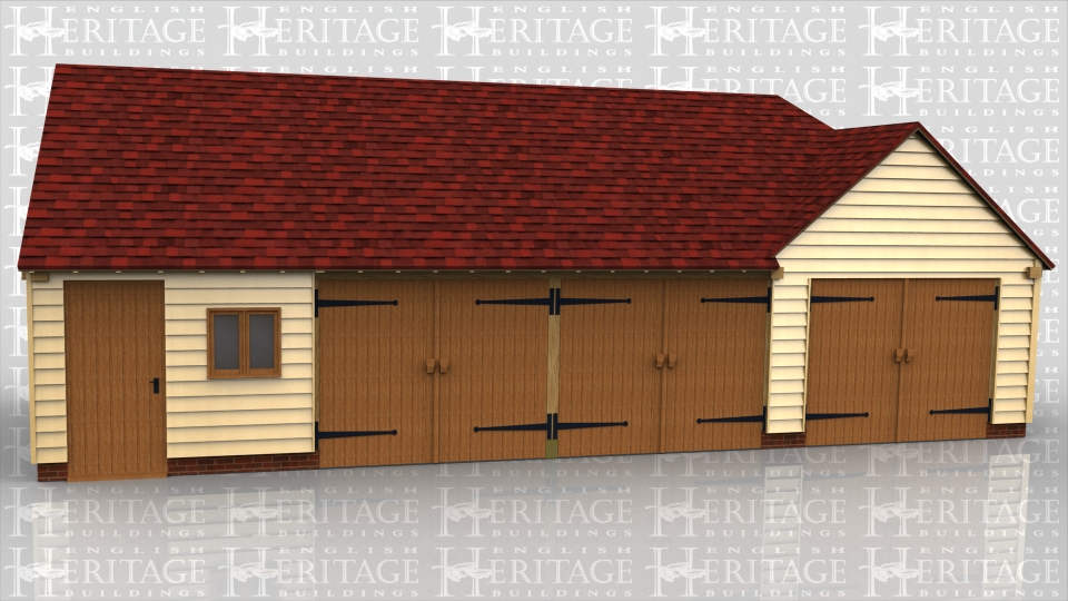 This oak framed garage is made up of two different frames. One is a three bay garage with one bay to be used as a store or workshop, accessed by a single door to the front and the other garage bays accessed by a set of garage doors to the front of the bay. The other frame is a two bay garage with the garage doors on the left hand side, with a gable end.