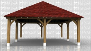 This oak framed car port has two bays and is open on all sides.