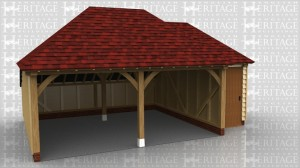 This oak framed garage has two open garage bays and an enclosed logstore to the rear. There is a also a smaller single bay store attached to the right and accessed via a single door to the front.
