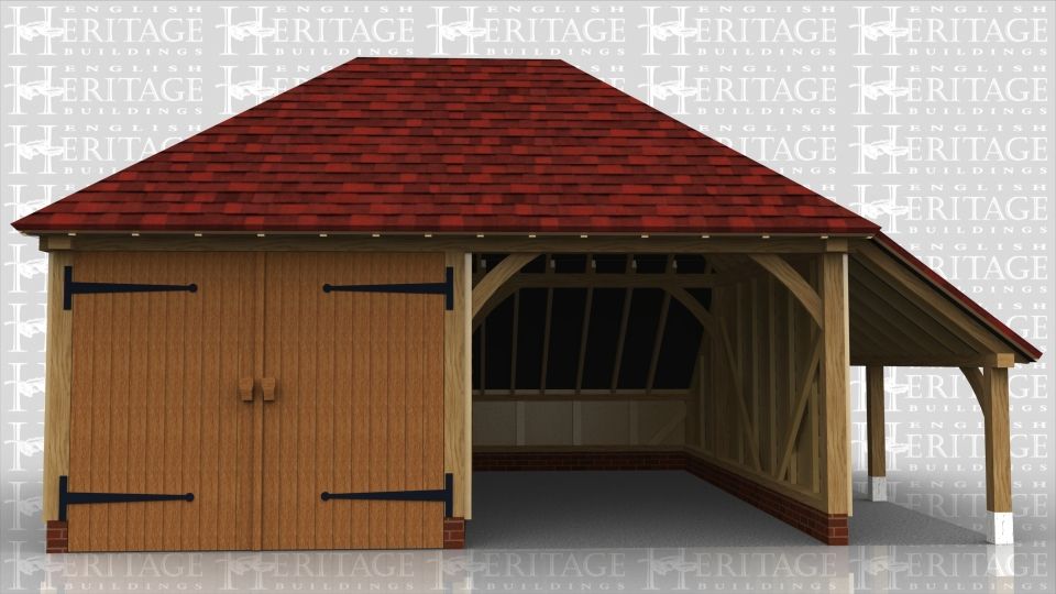 This oak framed garage has two bays; one open and one enclosed. The enclosed bay is accessed via a set of garage doors to the front and there is an open logstore to the right hand side.