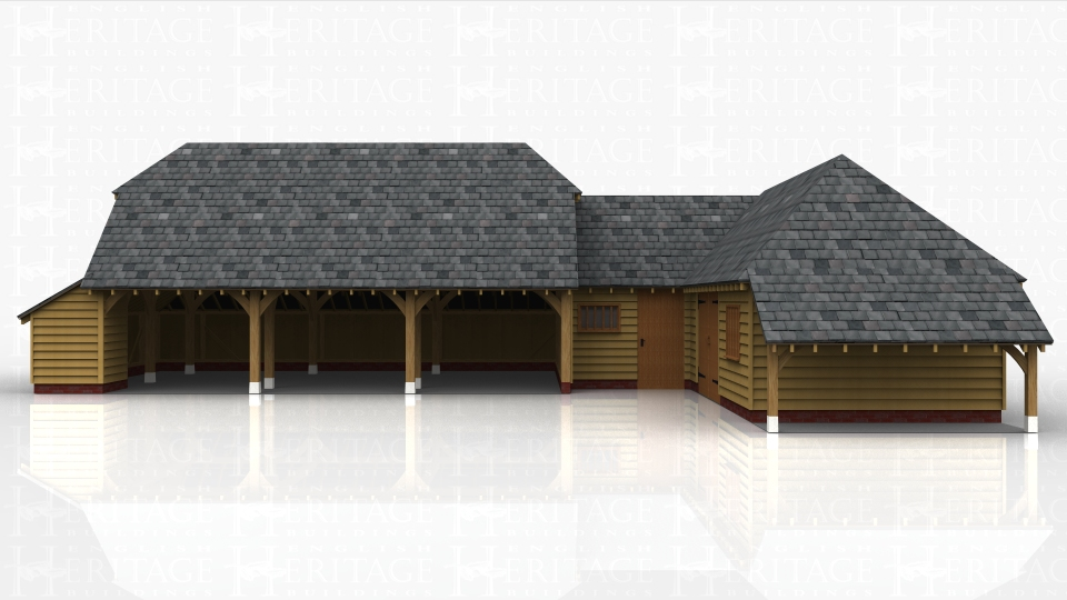 This oak framed complex has a three bay open garage, a link building, and a one bay garage with a store. The three bay garage is open to the front and has an enclosed store to the rear and the left side. The small link building is accessed via a single door to the front and also has a mullion window. The one bay garage has an enclosed bay next to the link building which is designed for storage, and the garage is accessed via a set of garage doors to the front and has a mullion window. There is also an open logstore to the right hand side.
