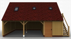 This oak framed garage has two open bays and one enclosed. The enclosed bay is accessed via a single door to the front and is designed to be used as a store. The first floor is accessed via an external oak staircase and there is a half glazed door to the right hand side. There are also trimmings for three rooflights.