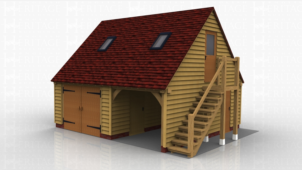 This two storey oak framed garage has two bays, one is enclosed and one is open. The enclosed bay is accessed via standard garage doors to the front and the open bay has a single door to the right hand side. The first floor is accessed via an external oak staircase and has a half glazed door. There are also trimmings for two rooflights.