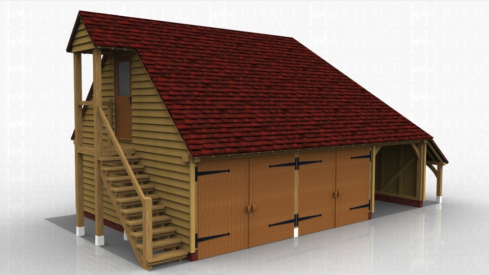 This oak framed two storey garage has two enclosed bays and one open bay. There is an open store to the right hand side. The first floor is accessed via an external oak staircase and there is a half glazed door, with a small porch to cover the staircase.There is trimming for one rooflight on the right hand side.