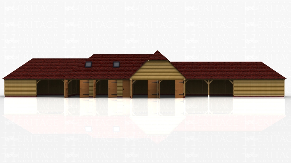 This oak framed complex is formed of four different buildings. The first is a two bay garage with one bay open and one enclosed. The enclosed bay is accessed via the open bay. The second building is a two bay garage with both bays enclosed and accessed via standard garage doors, with trimming for two rooflights. There is also a single door to the right hand bay.The centre building is a two bay enclosed garage with two sets of garage doors to the left hand side and trimming for a rooflight. The final building is a four bay garage or store with two open bays and two enclosed, accessed via the open bays.