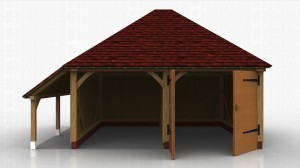This oak framed garage has two bays, one open and one enclosed. The enclosed bay is accessed via a set of garage doors to the front. There is also an open logstore to the left side.
