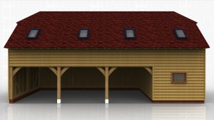 This oak framed building uses a sling brace frame in order to raise the eaves height.The building is formed of four bays, three open and one enclosed. The enclosed bay is accessed via a single door to the front and a mullion window. The three open bays are enclosed to the front and open to the rear, and each bay has a two pane window on the first floor. There are four full length garden room windows on the first floor to the left hand side, and trimmings for four rooflights.