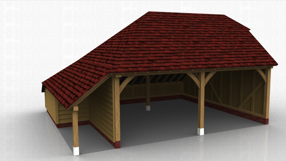 This oak framed garage has two open bays. There is also a logstore to the left side which is enclosed to the rear and open to the front.