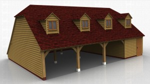 This oak framed four bay garage has three open bays and one enclosed bay. The enclosed bay is accessed via a single door to the front and is designed for storage. The first floor is accessed via a hatch in the enclosed bay and has four dormers to the front, each with a two pane window. There is also an enclosed store to the rear.
