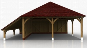This oak framed garage has two open bays and is left open to the right hand side. On the left side there is an open logstore.