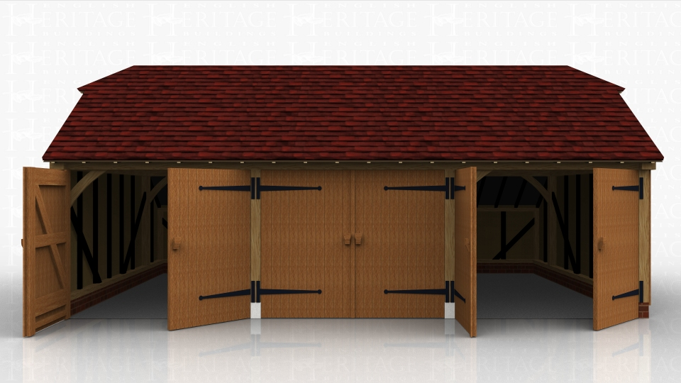 This oak framed garage has three enclosed bays, each accessed via a standard garage door to the front. There is an enclosed logstore to the rear of the building.
