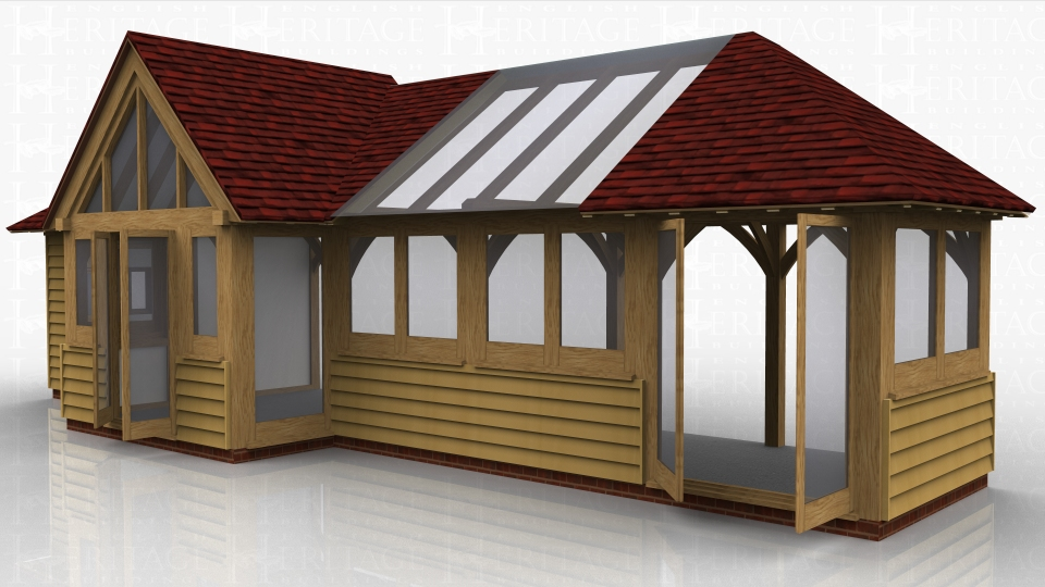 This oak framed garden room is formed of five bays with an enclosed barn entrance on the second bay. It is designed to be attached to an existing building at the rear. The first bay is accessed via a single solid door and a two pane window. The barn entrance has a glazed gable end and a pair of opening garden room windows. The other bays have two pane windows to the front and the end bay has a pair of opening garden room windows.