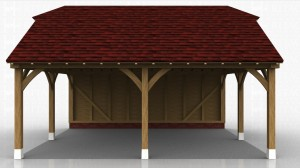 This oak framed garage building has two open bays and is also open to the left and right sides.