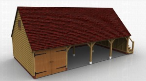 This two storey oak framed garage has four bays, one enclosed and three open. The enclosed bay is accessed via a set of garage doors to the front of the building.The first floor is accessed via an external oak staircase on the right hand side and a half glazed door. There is also a two pane window on the left hand side of the first floor.
