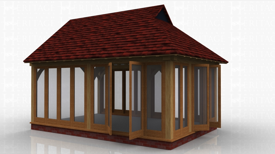 This oak framed garden room is designed to be attached to an existing building. It has full length glazing to the front and rear, with a pair of opening garden room windows to the front, rear and right hand side. The left side is open for attaching to another building.