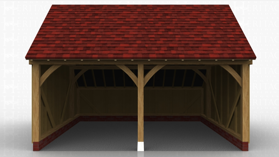This oak framed garage has two open bays and an enclosed store to the rear.