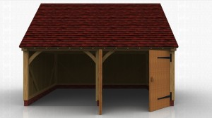 This oak framed garage has two bays; one is open and the other is enclosed. The enclosed bay is accessed via a set of garage doors to the front of the building.