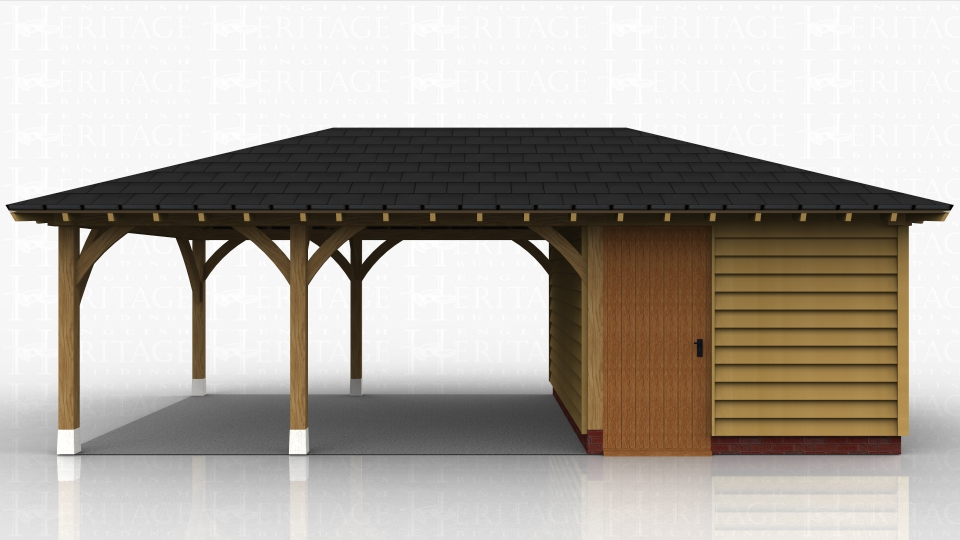 This oak framed garage has three enclosed bays; two of these are accessed on the right hand side of the building, as one is open and the other has a set of garage doors. The bay to the left is accessed by a single door and has a first floor window. There is also an open logstore to the left. There are trimmings for two rooflights.