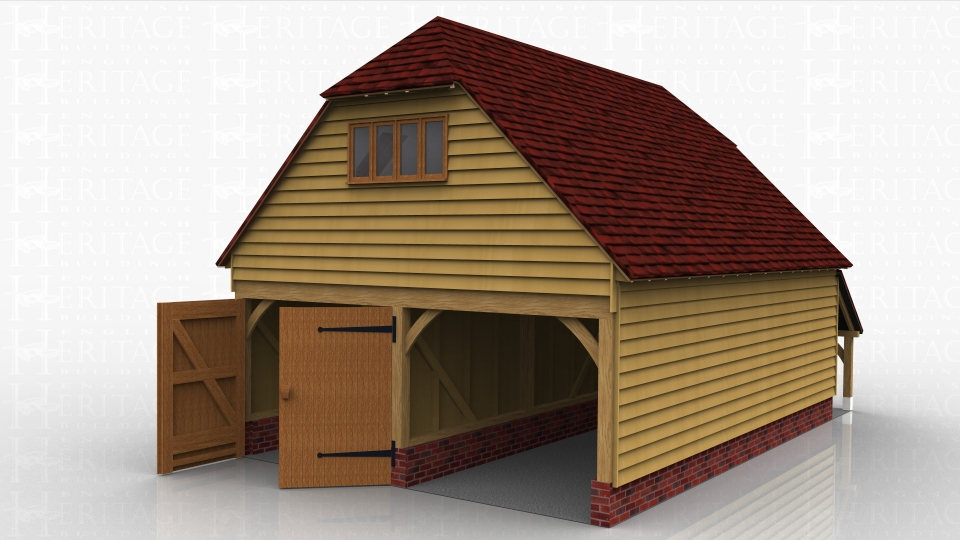 This two storey oak framed garage has three bays; two for parking which are accessed via two sets of garage doors to the right hand side, and one for storage which is accessed via a single door to the left. The left hand side of the building has an open logstore and a single window to the first floor. To the right first floor side there is a four pane window as well as the trimmings for two rooflights. The first floor is accessed by a hatch in the enclosed bay and is designed for storage.