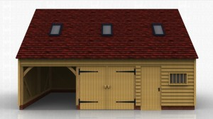 This oak framed garage has three bays; two are enclosed and one is open. The first enclosed bay has a set of garage doors to the front and the other enclosed bay has a single door and a mullion window, designed to be used as a store or a workshop. The first floor is accessed via a hatch in the store and has a three pane window to the left side as well as trimming for three rooflights.