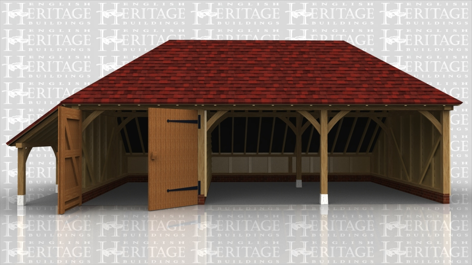 This oak framed garage has three bays; one enclosed and two open. The enclosed bay is accessed by a pair of garage doors to the front and there is an enclosed logstore to the rear. There is also an open logstore to the left hand side.
