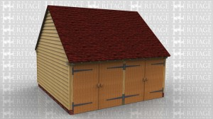 This oak framed garage has two enclosed bays, accessed by two sets of garage doors to the front.