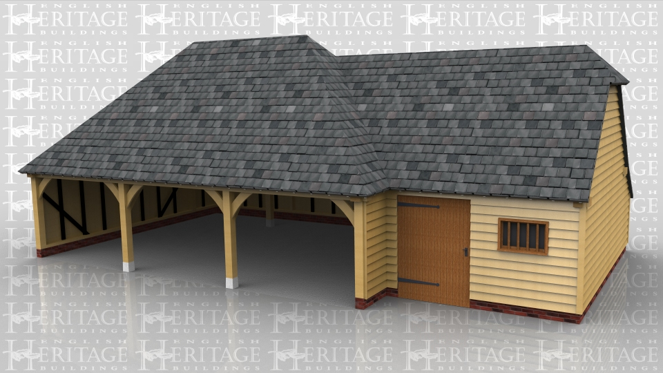 This oak framed garage has three open bays and one smaller enclosed bay, with an enclosed logstore to the rear. The enclosed bay is attached to the right hand side of the building and is accessed via a single door to the front and has a mullion window. This bay is designed to be used as a store or workshop and also has an enclosed logstore to the rear.
