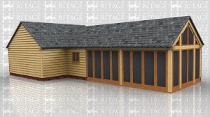 This oak framed home leisure building is formed of two different frames. The first frame is a two bay open garage, and attached to the rear is a three bay garden room. The garden room has a solid wall to the rear and two fully glazed bays to the front. The right hand wall is also fully glazed with full length garden room windows.