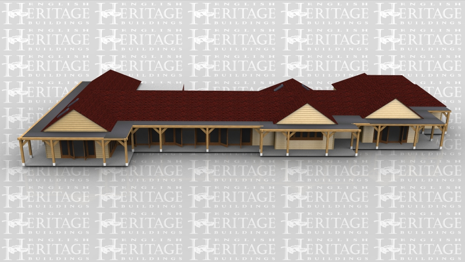 A substantial single storey oak frame house with a combination of weatherboard and brick outer walls.There is an open car port to the rear and a covered veranda walkway area which wraps around two sides of the building. Rooflights give extra natural light into some areas of the building. The innovative use of frames at right angles to each other allows an interesting internal layout and design.