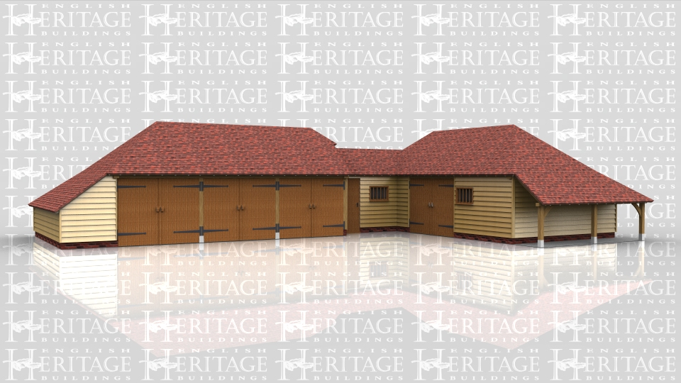 This oak framed complex is formed of a three bay garage, a small link building and another three bay garage. The first garage has three enclosed bays, all accessed by sets of garage doors to the front, and has an enclosed logstore to the left side and to the rear. The link building is one bay accessed by a single door to the front and has a mullion window. The other garage has one bay to be used for storage and the other two bays are accessed by a single set of garage doors to the front. There is also an open logstore to the right hand side.