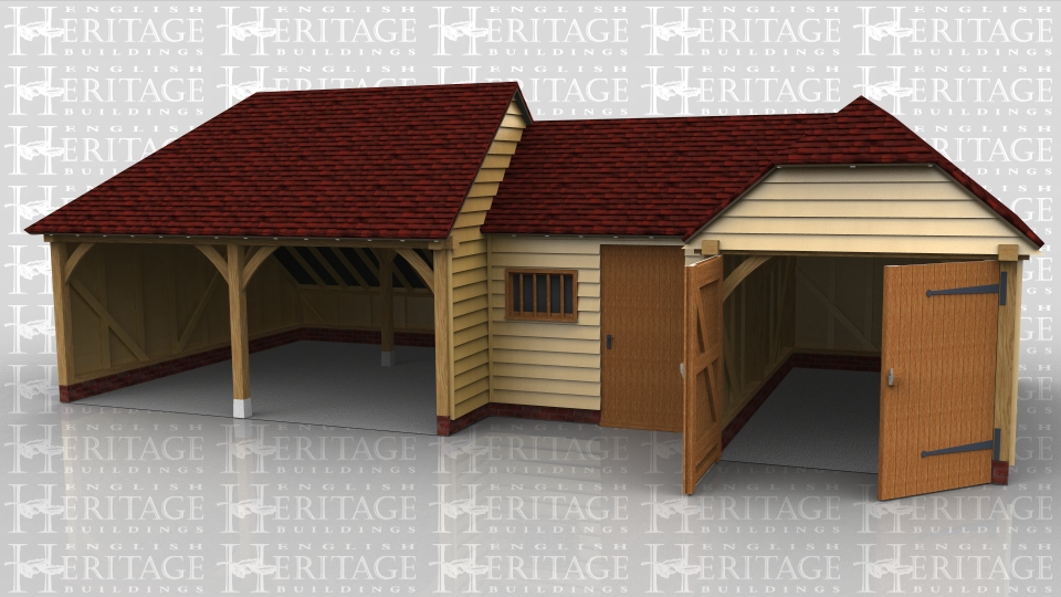 This oak framed complex is formed of a two bay garage, a small link building and a two bay garage. The first garage has two open bays, with an enclosed store to the rear. The link building is enclosed, with a single door to the front and a mullion window. This is designed to be used as a store or workshop. The other garage has two bays, with the front enclosed and access via a set of garage doors to the left hand side.