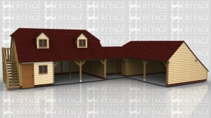 This oak framed complex is formed of three different buildings; a two storey three bay garage, a small link building, and another three bay garage. The first garage is a two storey building with access via a set of external oak steps to the left. It has three bays, one enclosed and two open. The enclosed bay is accessed by a single door to the front and also has a two pane window. On the first floor there are two dormers, each with a two pane window. The link building is open to the front. The second garage has three bays, one enclosed which attaches to the link building and also has a single door to the left hand side. The other two bays are open and have an enclosed store to the rear.
