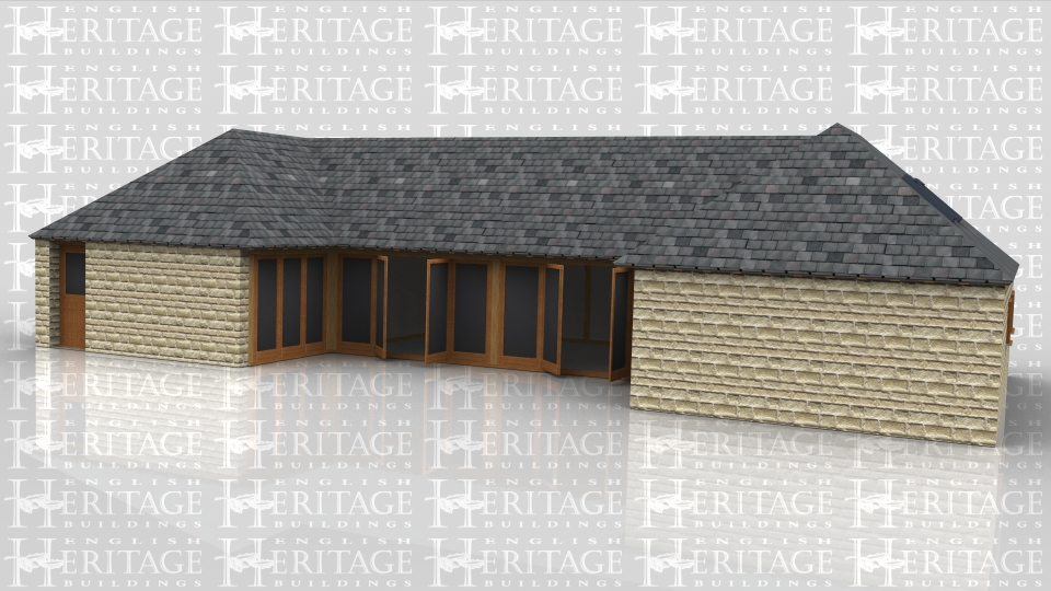 A single storey u-shaped oak frame house which is encased in a combination of brick and stone walls. The slate roof has rooflights along the rear and both sides and full height glazing around the inner part of the u-shape .