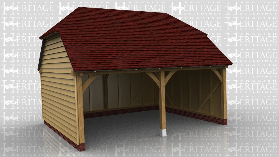 This oak framed garage has two bays that are both open to the front.
