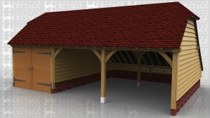 This oak framed garage has three bays; one enclosed and two open. The enclosed bay is accessed via a set of garage doors to the front and the garage has an enclosed logstore to the rear.