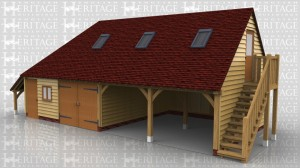 This two storey oak framed garage has four bays; two enclosed and two open. Access to the first floor is via the external oak staircase to the right hand side and a half glazed door. The first enclosed bay has a single door to the front and a two pane window, and is designed to be used for storage. The second enclosed bay has a set of garage doors. There is an open logstore to the left hand side of the building and trimming for three rooflights upstairs.