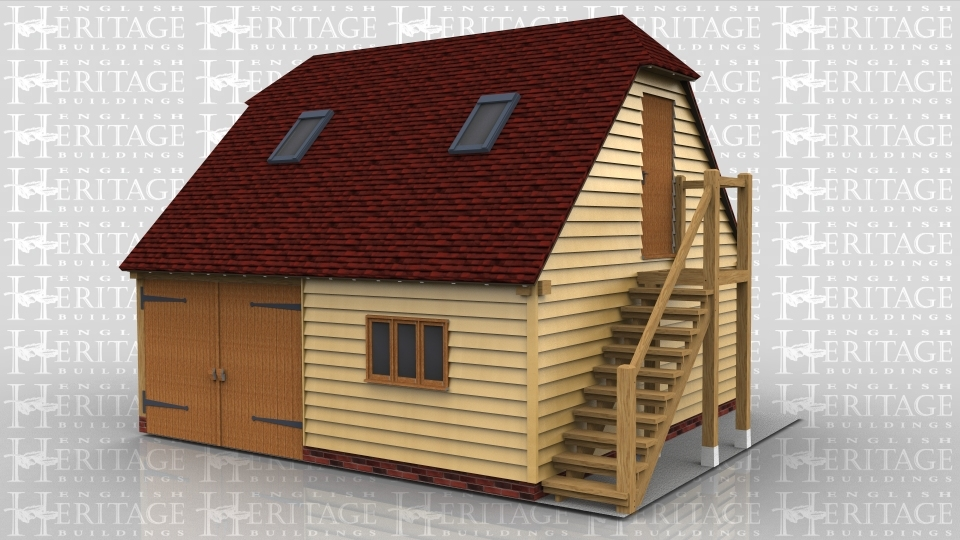 This two storey oak framed garage has two enclosed bays. The first bay is accessed via a set of garage doors to the front and the second has a single door to the rear. there is a three pane window to the front as well as to the right side of the first floor. The first floor is accessed via an external oak staircase to the right with single door at the top. The upstairs also has trimmings for four rooflights.