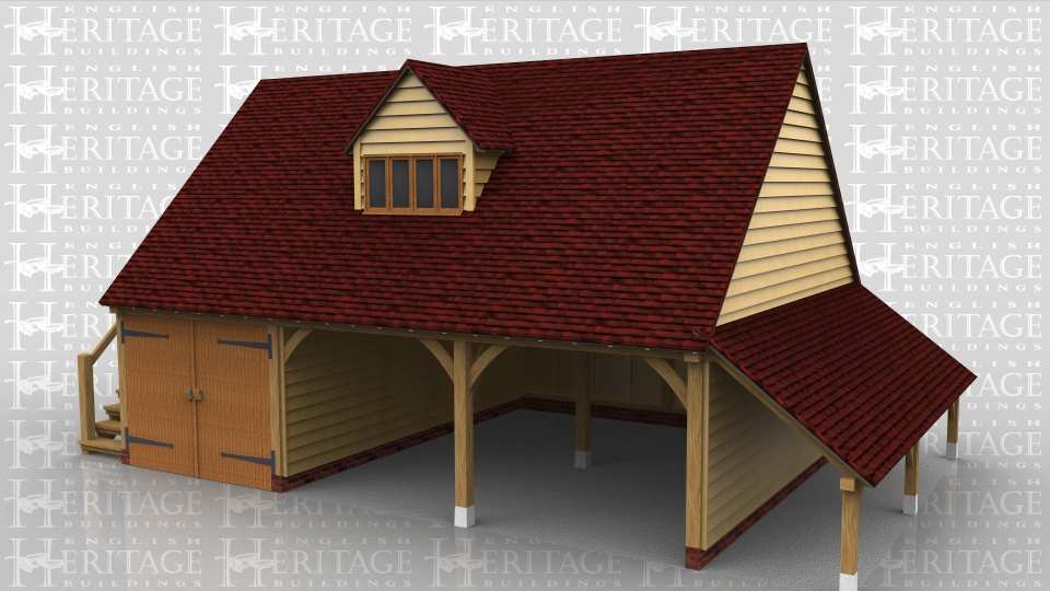 This two storey oak framed garage has three bays; two open and one enclosed. The enclosed bay is accessed by garage doors to the front. The first floor is accessed via an external oak staircase to the left hand side and a single door. There is also a dormer to the front with a four pane window. Attached to the right side is an open logstore.