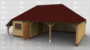 This oak framed garage has one enclosed bay and two open bays. The enclosed bay is accessed by a single door to the front and has a three pane window. There is also a single door to the left side. There is an open logstore to the left side of the building and an enclosed logstore to the rear.