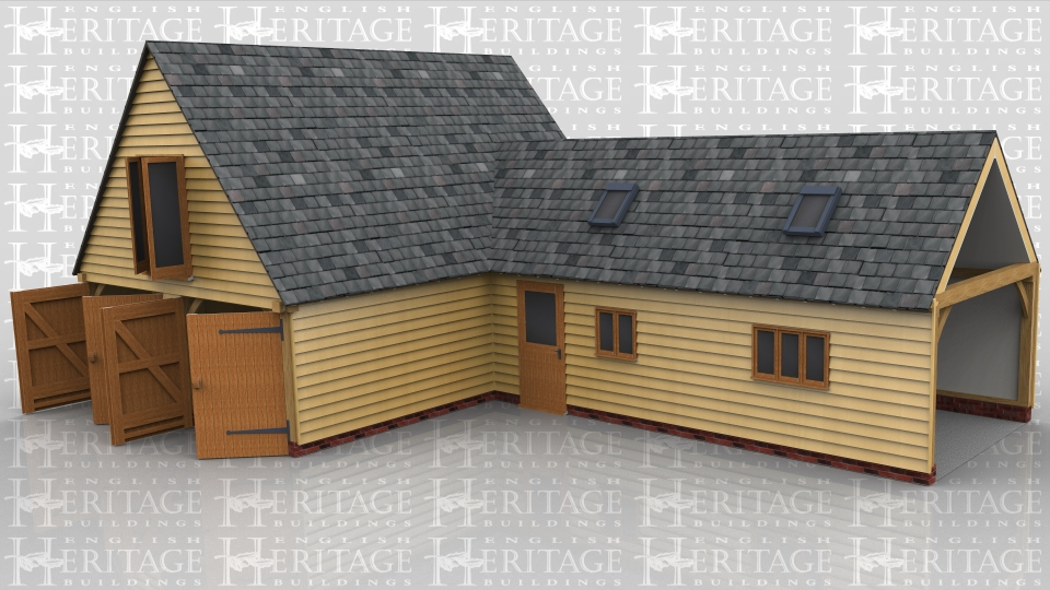This two storey oak framed garage is formed of two seperate frames, the first is a three bay garage with the front enclosed and access via two sets of garage doors to the left hand side. The third bay is an enclosed smaller bay to join the two buildings together. The first floor has a set of full length opening garden room doors to the left side and trimming for three rooflights. Attached to this building is a two bay garage with enclosed bays and a single door to the front. There is a two pane window to the front and a three pane window. On the roof there are trimmings for two rooflights and the right side is left open for attaching to an existing building.