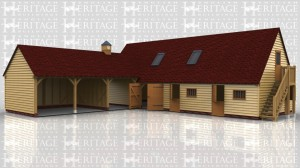 This oak framed garage complex is formed of two different buildings. The first building is a three bay open garage and the third bay is open to the rear as well. There is a clock tower on the roof of the third bay. The second building is a two storey stable complex with a bay that attaches to the other building, and a single garage bay accessed by a set of garage doors. The other two bays are stables accessed via stable doors to the front and with a mullion window to each bay. The first floor is accessed via an external oak staircase and a half glazed door. There is also trimmings for two rooflights.