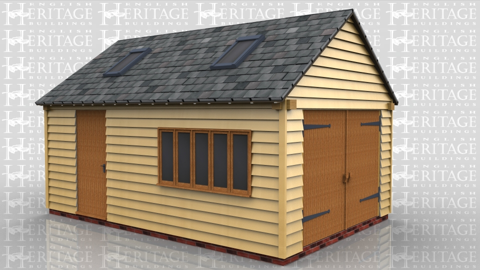 This oak framed garage has two bays. The bays are both enclosed and are accessed via a single garage door to the right side. There is a single door to the front and a large mullion window. There are trimmings for two rooflights.