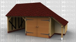 This oak framed garage is made up of two seperate frames. The first is a two bay garage with one open bay and one enclosed. The enclosed bay is accessed by a pair of garage doors to the front. There is a logstore to the right hand side which is enclosed to the rear and open at the front. The second frame is another bay attached to the rear with access via a single door to the right hand side.