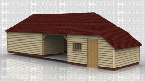 This oak framed garage has four bays, three enclosed and one open. Two of the enclosed bays are accessed by a set of garage doors to the left hand side. The third enclosed bay has a single door to the front and left side and a mullion window to the front. There is also an enclosed logstore to the side.