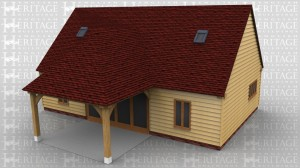 This oak framed home leisure building has three bays, with an extra open bay to the front to function as a porch. The middle bay has four full length garden room windows to the front and rear. The left and right bays have a two pane window to the front and rear and a four pane window to the side. There are trimmings for four rooflights.