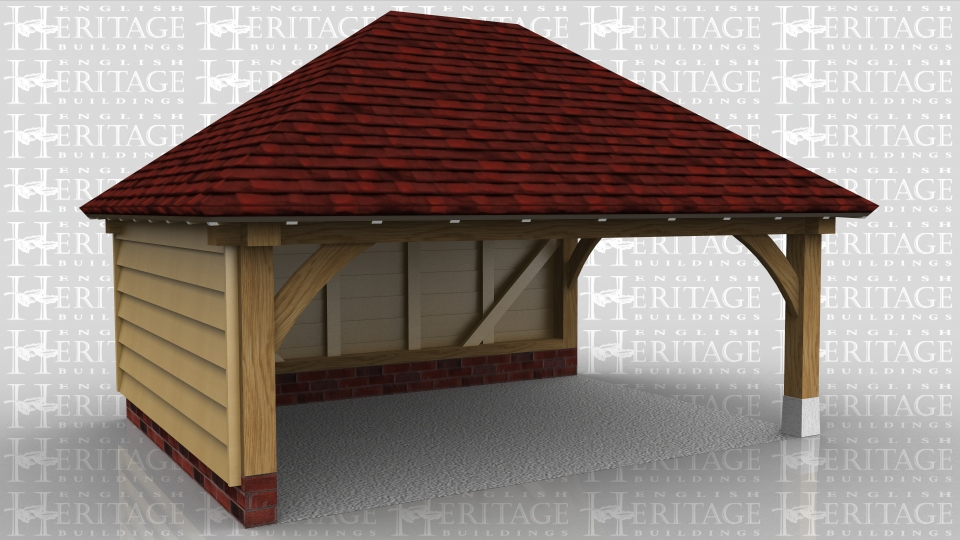 An open oak framed building for a car or covered storage. It could also be used to site a hot tub or for sheltered outdoor entertainment.
