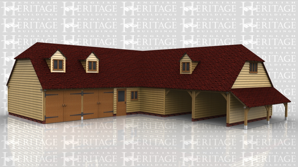 This oak framed two storey garage complex is formed of two different frames. The first frame is a five bay garage with two garage doors to the front and a half glazed single door. The other two bays are attached to the next frame and enclosed, with a set of garden room doors to the right side. To the first floor there are two dormers at the front with a two pane window in each. The next frame is a three bay garage with one enclosed bay and two open bays. On the first floor there is a dormer to the front and two to the rear, each with a two pane window. The enclosed bay has a pair of solid doors to the rear. To the right side there is an open store.
