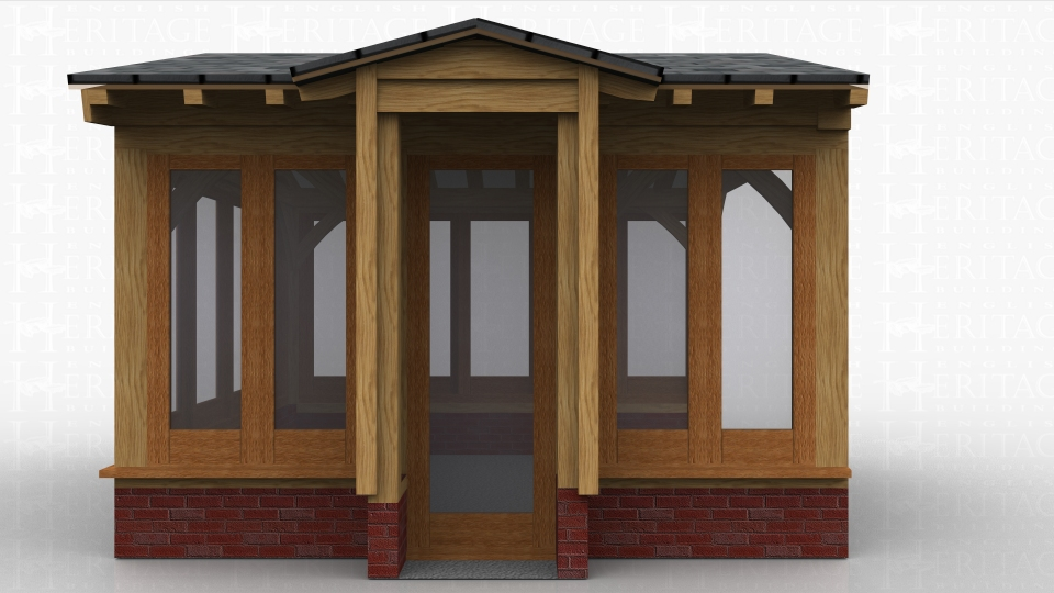 This oak framed home extension is designed to be attached to an existing building on the left hand side. The right, rear and sides of the building are all fully glazed and the front has a full height brick wall with two, two pane windowns and two rooflights.